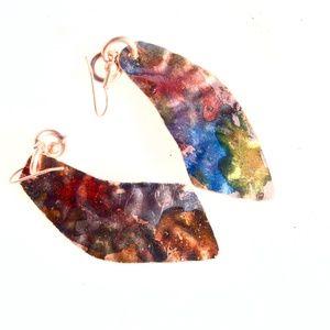Rainbow Copper Statement Earrings Hippie Handmade